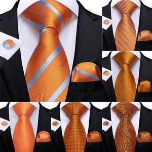 Бантики галстуки подарок мужские галстуки оранжевые полосатые шелковые свадьбы для дизайна Dibange Hanky Cufflink набор качественных капель