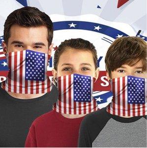 Maskeler sürme ABD depo Amerikan bayrağı baskılı koruyucu maske Yetişkin Çocuk spor ücretsiz FY7142 için 1 filtreli önlük sihirli havlu maske