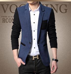 Casual Cloth Contrast Color Plus Hommes Jacket Fashion Panelled Man Leisure Suit Blazer Designer Single Button