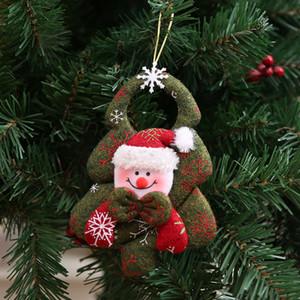 Natale non tessuto attaccatura della bambola Albero di Natale Babbo Natale i pendenti del pupazzo di neve Orso ornamento di Natale Albero di Natale Pendere Porta FFA4329C Pendant