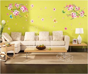 New spring breath romantic warmth peach blossom butterfly environmental protection can remove decoration stickers TV background wall childre