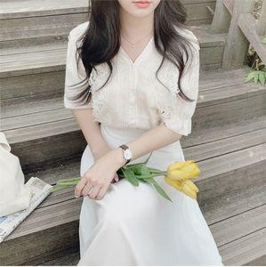 PxPI8 shan français niche conception dentelle à manches courtes fille chen shan de tong chen chemise tong chemise de coeur longueur HnFuS enfants avec l clavicules