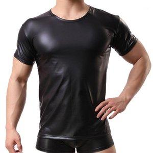 Neck Verão Mens Undershirts PU Leather Mens T-shirts de manga curta Pure Mens Cor Tops Moda Tripulação