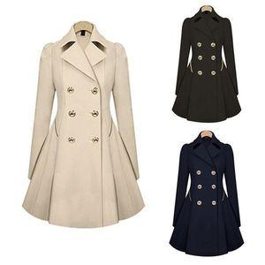 Zogaa 2020 новых женщин пальто осень Женщины двубортный Теплые женские Ветровка Причинная Длинные траншеи пальто женщина плюс размер