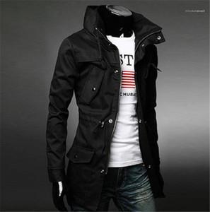 Мода Мужские рукава Тонкий Outwear Tops новых людей конструктора куртки сплошного цвета Mens Trench Coat с карманами Long
