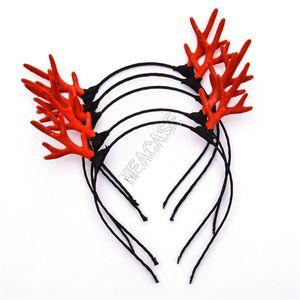 LED Antlers Light Up Headband Lumious Flashing Hair Sticks Halloween Christmas Party Cosplay Gifts Light-emitting Xmas Deer Hair Clip D91703
