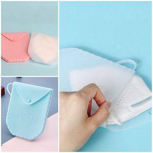 Masque silicone Boîte de rangement en plastique conteneur Masques Portable Case diverses couleurs prévention de la pollution antipoussière 13 09dx D2