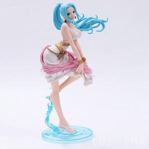 One Piece Nefeltari Vivi azul de cabelos compridos Princesa Ação PVC Figuras OP Nami Luffy Collectibles Modelo Brinquedos 24 centímetros