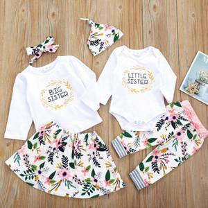유아 어린이 아기 소녀 문자 인쇄 꽃 의류 세트 긴 소매 가을 T는 셔츠 + 스커트 바지 의상 키즈 소녀 용 의류 BY1569 탑