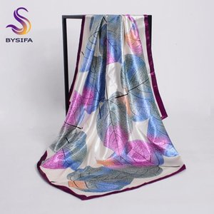 [BYSIFA] Nova Primavera Silk Scarf Shawl Moda accessorries Muslim Women lenço principal 90 * 90 centímetros Folhas elegantes padrão quadrado Lenços