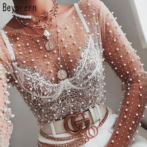 Beyprern Элегантного длинного рукава Mesh Diamonds срощенной Перемычка Весна женщины Pearl Rhinestone Sheer сетка Рубашка Обрезанного Top Streetwear T200813
