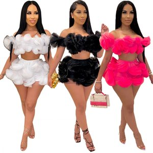 New Women Two Piece Set Summer Off Shoulder Top and Shorts Sexy Maching Set Party Nightclub Free Shipping Wholesale Dropshpping
