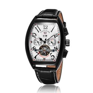 Gorben correa de cuero de color múltiple mecánico automático del reloj hombre esquelético de la vendimia de lujo del reloj de pulsera comercial masculino