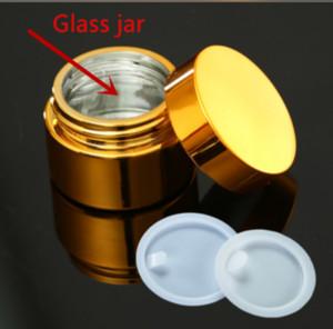 10pcs Yüksek Kalite 5g 10g 30g 50g UV Kaplama Altın Gümüş Cam Kozmetik Konteyner, Kapak ile Doldurulabilir Kozmetik Pot Jar boşaltın