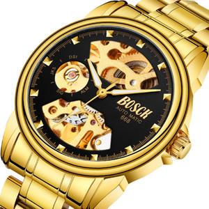 Golden Business Mens Watches Top Automatic Watch Skeleton Male Clock Luminous Self-Wind Men Mechanical Wrist Watch