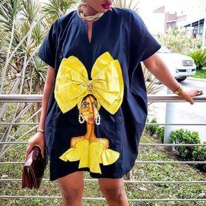 Vestido ocasional del verano de caracteres de gran tamaño de impresión vestido de las mujeres suelta Oficina Streetwear Moda señora Mini Work Wear Vestidos Tamaño más