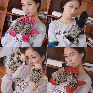2020 Guanti nuovo inverno delle donne Mittens Hedgehog Guanti senza dita del guanto invernale Womens riscaldati calda lavorata a maglia Hedgehog Mittens