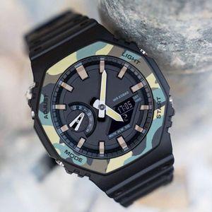 Üst Satış Şok 2100 Erkek Saatler G Stil Şok Saatler Su geçirmez Kamuflaj Yeşil Spor İzle With Box Saat Fonksiyonlu LED Saat Toptan