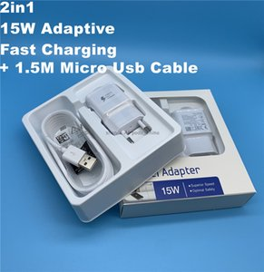 Alta Qualidade 15W Adaptive 100% carregamento rápido EUA / UE viagem carregador de parede + 1.5M Micro cabo USB para Samsung S6 S7 Borda Nota 4 com caixa de varejo