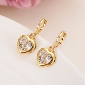 hohe Qualität Goldherz 3 Farbe Kristalltropfen cz Ohrring-Frauen / Mädchen afrikanischer / arabische Kinder Geschenk Modeschmuck Drop-Shipping