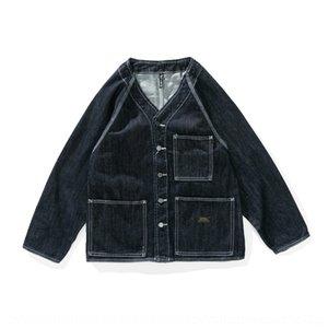 sAx4i kovan gevşek V yaka Erkek gevşek V yaka uzun kollu d klip jacket klip uzun kollu ceket
