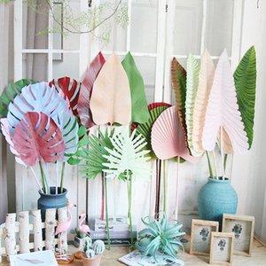 Renkli Yapay Tropik Palmiye Yapraklar Plastik Monstera Yapraklar düğün yol için çiçek ev JG12 için # Yapay Ağaçlar lider dekoratif