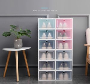 Kalınlaşmak Ayaklı Ayakkabı Saklama Kutusu İstiflenebilir Temizle Plastik Ayakkabı Kutusu toz geçirmez Şeffaf Ayakkabı Kutuları Katı Renk Çekmece Kasa Toptan DBC