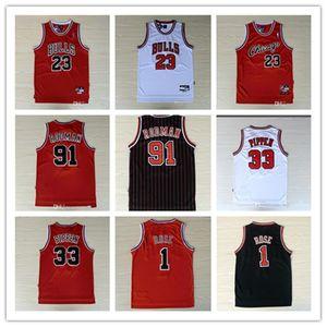 Stickerei 23 MJ Michael 1 Derrick Rose Breathable Sport 33 Scottie Pippen Jersey Günstige 91 Dennis Rodman Sport Jersey nähte