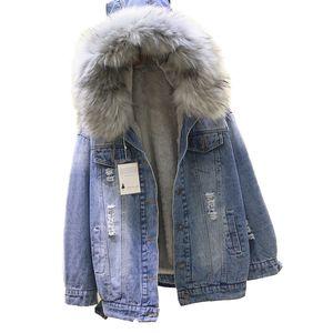 2020 winter Loose Hooded Big Fur women Parka Thick Warm Lamb Fur Long Denim Jacket winter jacket women coat with Jean