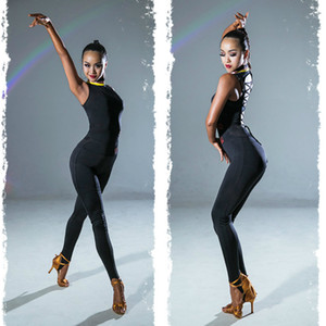 Latin dance clothing practice performance training gymnastics women's strapless backless sexy jumpsuit without pants