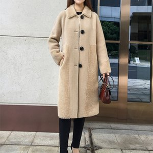 SY01 women winter wool fur coat over size parka warm jacket sheep shearing girl fur coats lady Long jacket over size parkas