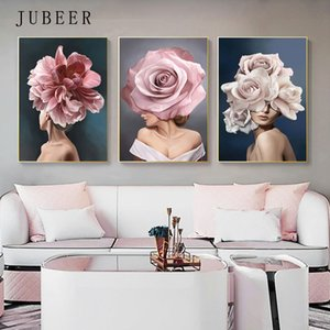 Fashion Girl Pictures Abstract Canvas Painting Flower Wall Art Posters on The Wall Home Decoration Modern Poster Home Decor