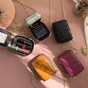 RAZALY Genuine Leather WOC borse e borse del sacchetto piccolo lembo Mini Card con le donne Borse Specchio frizione catena NFLR #