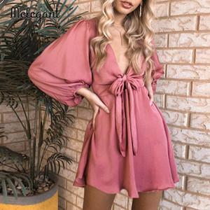 Melegant Seksi V Yaka 2020 Kış Uzun Fener Kol Kadınlar Elbise Günlük Parti Elbise Katı Saten Vintage Elbise vestidos