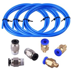 Tube Ptfe Tube Bleu (1,5 mètres) avec 3 pièces CP4-M6 Raccords Et 3 Pièces CP4-M10 Homme Droit pneumatique PEFE Tube Pu