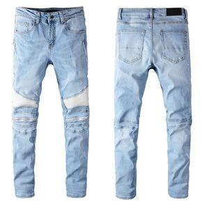 Mens Tasarımcı Denim Jeans Sıkıntılı Tüm Boyutu Mevcut Biker Jeans Slim Fit Biker Motosiklet Denim Jeans Sonbahar Moda Pantolon Ripped