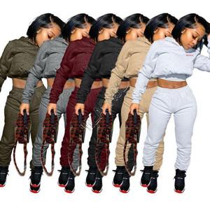 Mujeres chándal color sólido cuerpo Cartas Manga Larga Camisetas Crop Top con capucha jersey de lana Pantalones Leggings casual dos piezas con traje D92302