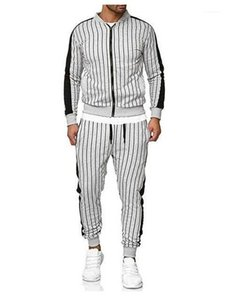 Long Sleeve Top Long Pants Mens Clothes Mens Designer Tracksuits Fashion Striped Suits Casual Zip Neck