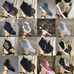 Designer Mens Womens red bottoms shoes Womans Spike Chaussures suede Genuine leather flat Ladies Casual party lovers sneakers 35-47