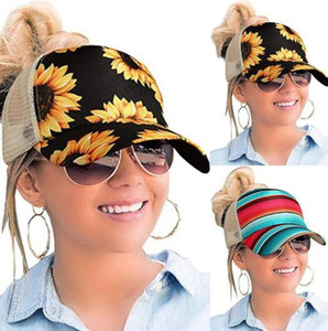 Frauen Sunflower Baseballmütze Sonnenblume Retro Criss Cross Hallow Out Baseball-Mütze Hohe Messy Brötchen Trucker Ponycaps Vati-Hut-Partei-Hüte OOA8336