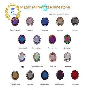 Elmas HXC yapışmasını Yeni tırnak kristal aksesuarları aksesuarları K9 dantel Oval Sihirli Ayna Kristal Elmas Barok düz dipli sihirli renk çivi