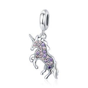 Розовый CZ Полное Pave Установка Unicorn мотаться Подвески Fit европейский браслет Pandora 100% Real 925 стерлингового серебра
