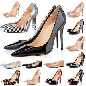 Hauts talons Alors Styles Kate rouge avec Bottoms Femmes Stiletto Heels 8 10 12CM point cuir véritable Toe Pompes mocassins en caoutchouc taille 35-42