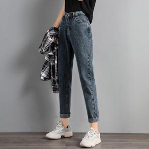 2020 Autumn High Waist Loose Straight Ladies Jeans Vintage Blue Jeans Women Pants Denim Trousers Women Pantalon Femme 10795