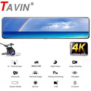 "4K Car Dvr 12"" 2160P Rear View Mirror camera Dual Lens Car Dash Camera Sony Sensor stream media Video Recorder Ultra HD Dash Cam"