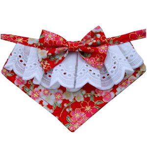 Chinese Fashion Japanese Style Handmade Dog Lace Bow Bib For Cute Dog Bow Tie Pet Cat Scarf and Puppies Medium Dogs Pet Accessories