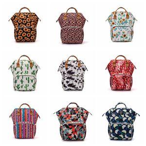 Girassol Diaper Bag Leopard Mommy Mochila Waterproof Fralda Bag Grande Capacidade Viagem Backpack bebê de enfermagem Stroller Bags YFA450