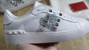 hombre de la moda para mujer de los zapatos de diseño de bajo mejores entrenadores de cuero reales con una calidad superior del corazón informal tamaño de las zapatillas de deporte 35-46