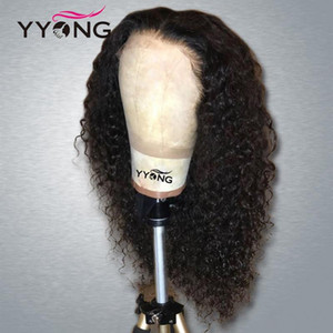 YYong 1x4& 13x6 T Part Malaysian Kinky Curly Lace Front Human Hair Wig HD Transparent Lace Wigs Remy Human Hair Wig 120% 32inch