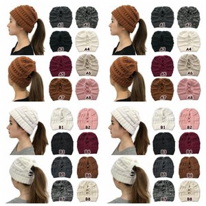 Criss Cross Ponytail Beanies 16 Colors Women Winter High Bun Knitted Hat Outdoor Skull Caps Party Supplies Party Hats CCA12559 30pcs